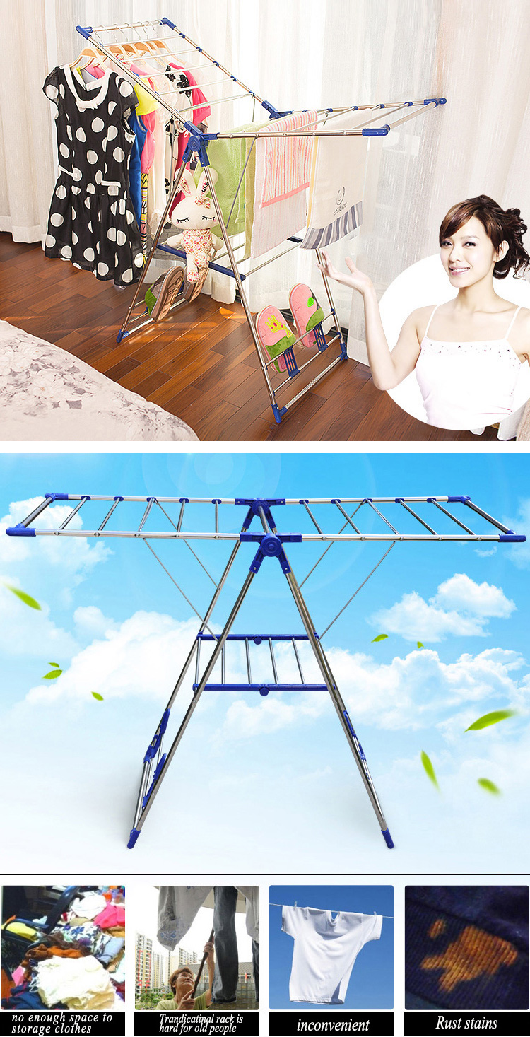 Multifunction Indoor Outdoor Household Clothes Drying Rack Laundry Foldable Hanger