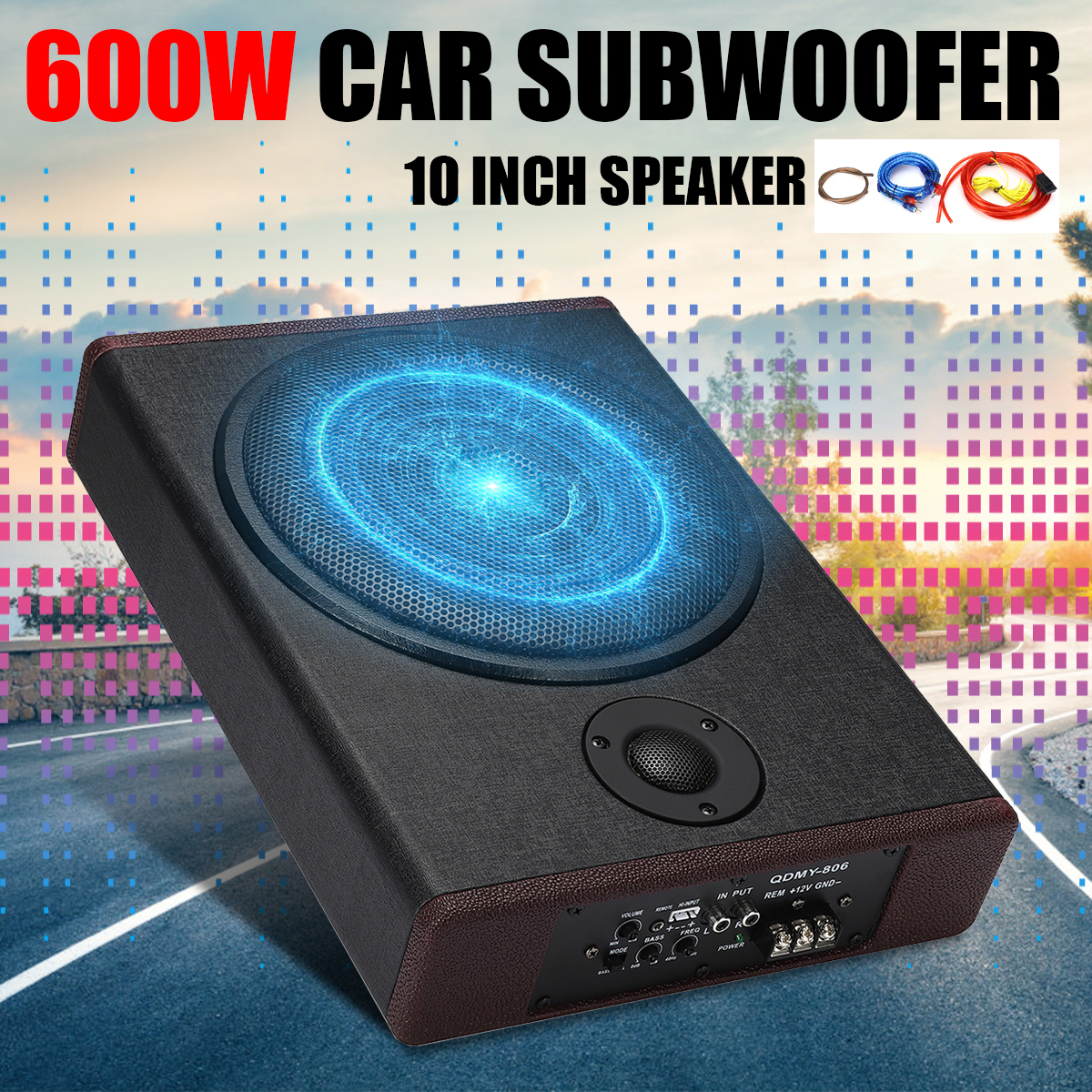 10 Inch 600W 12V Wooden Ultra-thin Subwoofer Car Audio Car Speaker