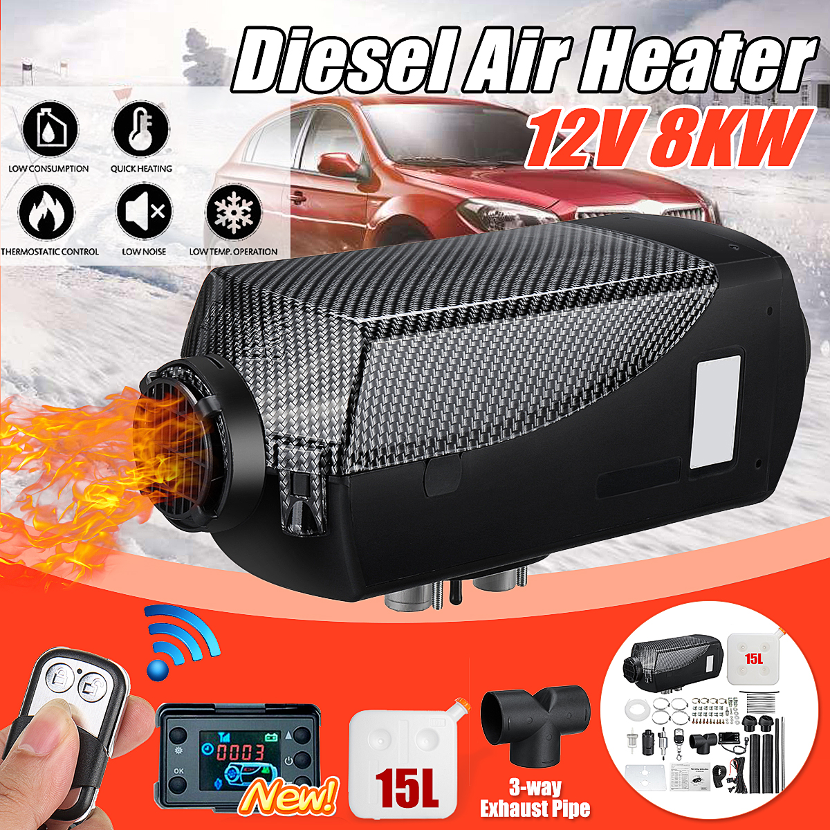 8KW 12V Diesel Air Heater Parking Heater Kit LCD Thermostat with 15L Tank & Remote Control