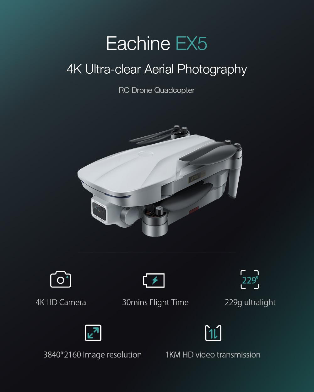 Eachine EX5 5G WIFI 1KM FPV GPS With 4K HD Camera 30mins Flight Time Optical Flow 229g Foldable RC Drone Quadcopter RTF