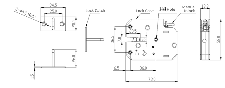 K02 12V DC 2A Electric Magnetic Lock Intelligent Cabinet Door Lock Fail Secure with Feedback Signal