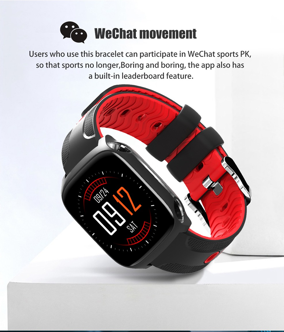 Bakeey QW12 1.3 'Big Multi-touch Screen Dynamic HR Blood Pressure Music Control Fitness Tracker Smart Watch