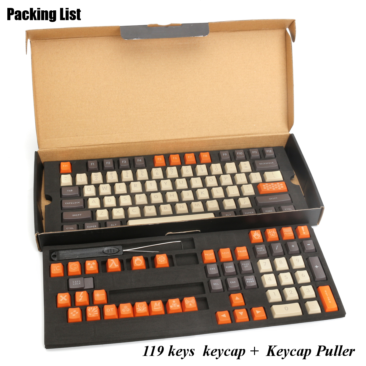 119 Keys Top Printed Carbon Colored PBT Thicken Keycap Key Caps Set with Keycap Puller