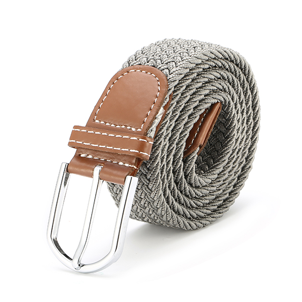 125CM Unisex Braided Elastic Woven Leather Stretchable Belt Trousers Pants Canvas Strip