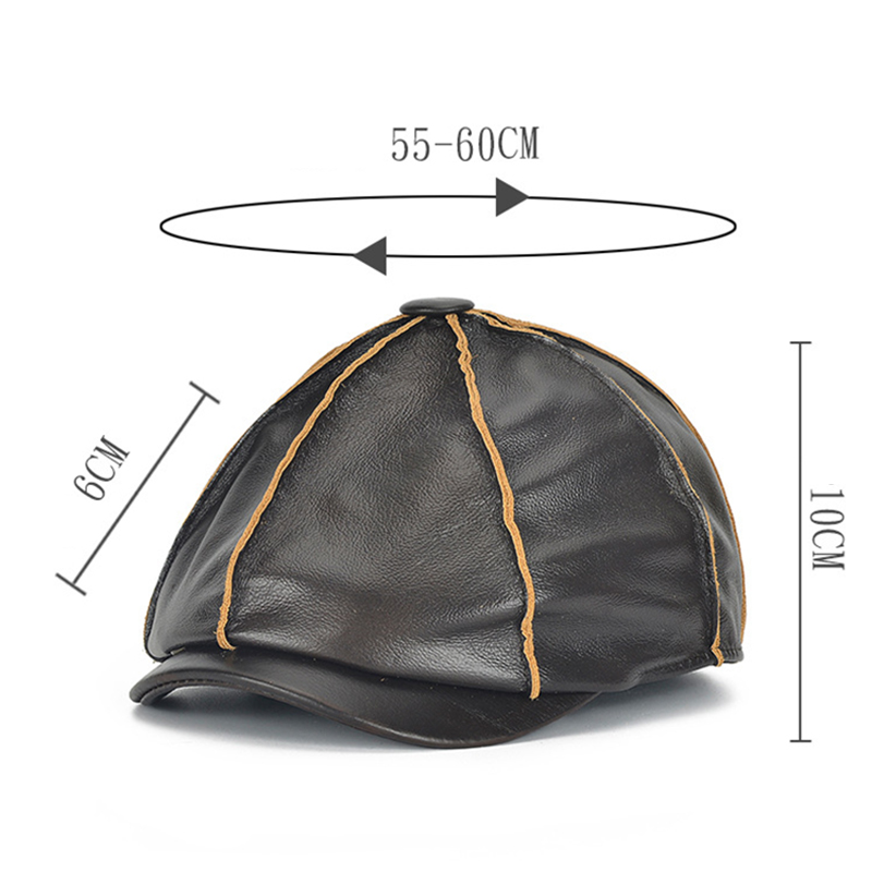 Men Winter Genuine Leather Casual Beret Melon Octagonal Cap