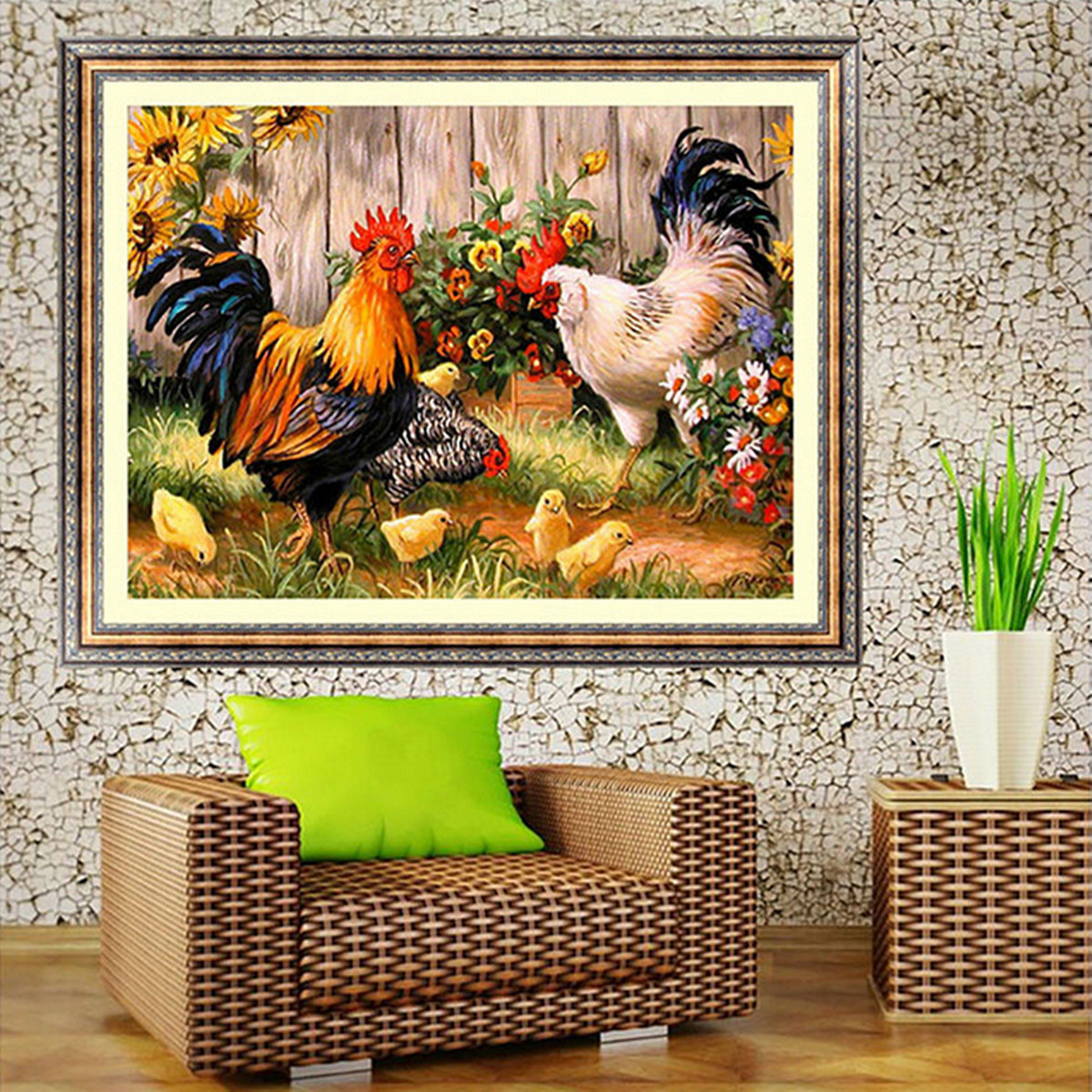 14x18 Inches 5D Diamond Painting Paper Garden Chicken Coop Cross Stitch Home Decor