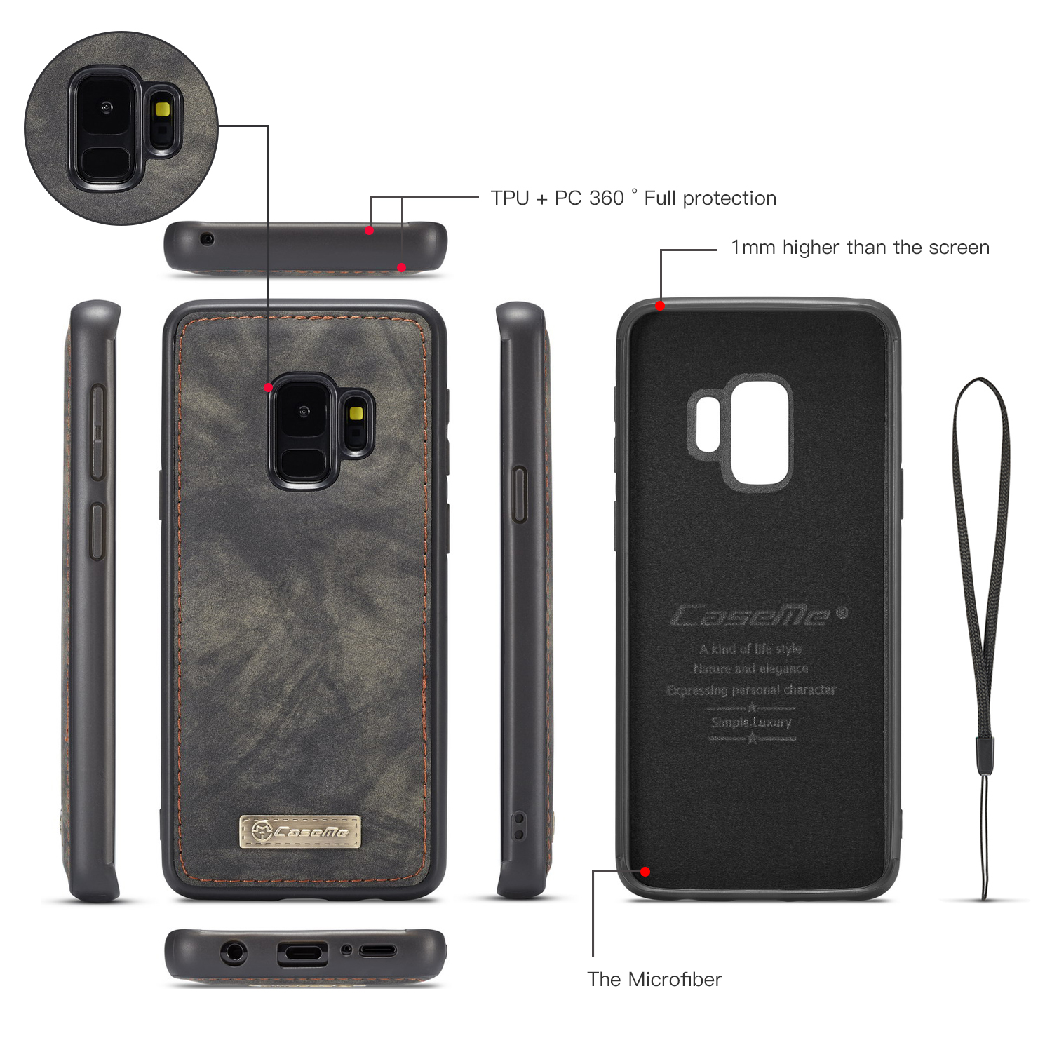 Caseme Magnetic Detachable Wallet Phone Case For Samsung Galaxy S9