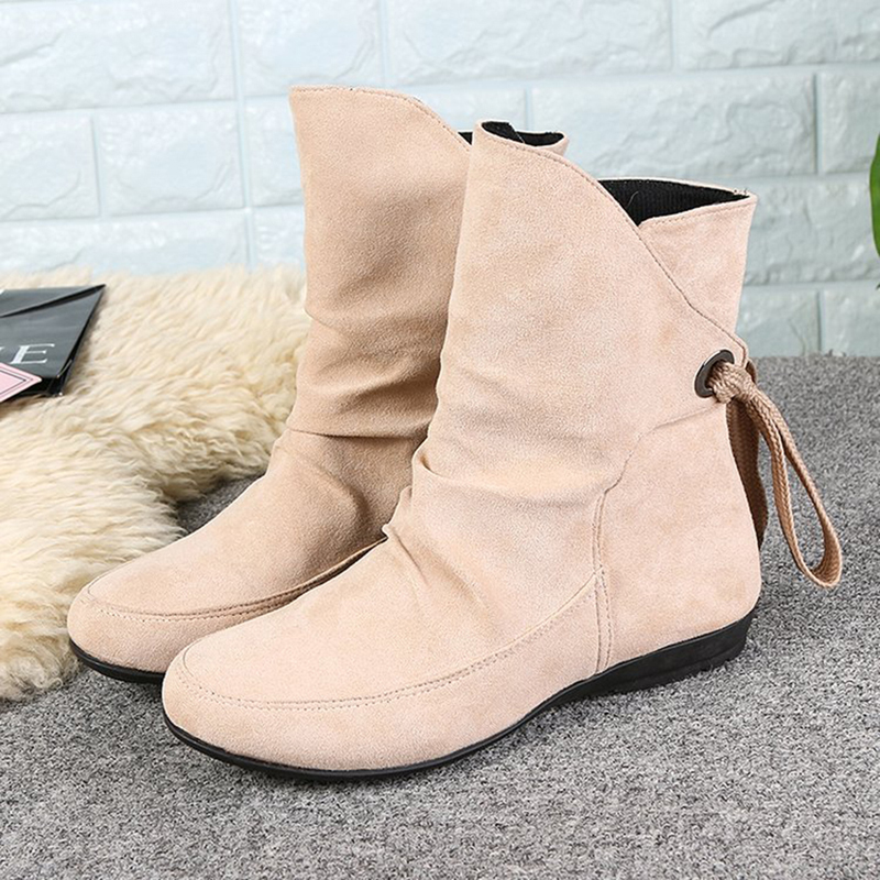 US Size 5-12 Lace Up Ankle Boots Round Toe Casual Shoes