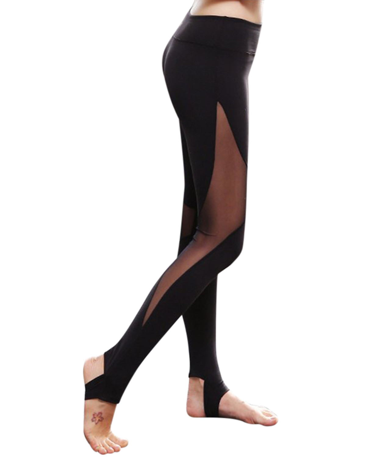Women Mesh Patchwork High Waist Stretch Quick Dry Yoga Sport Leggings