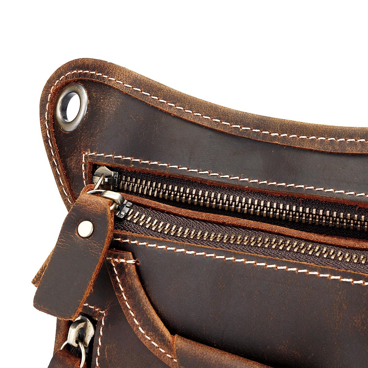Men Vintage Leather Motorcycle Rider Waist Hip Bum Fanny Pack Drop Leg Bag Crossbody Pouch 34