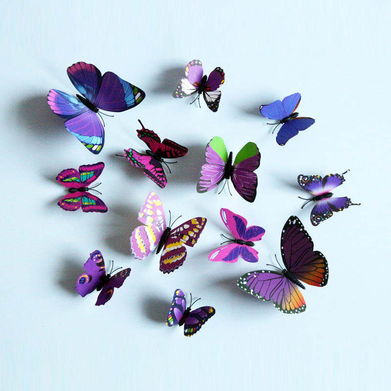 12PCS 3D Butterfly Wall Decors Multi Color PVC Wall Sticker For Living Room Wall Kids Bedroom Wall Home House Decoration