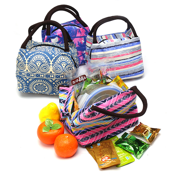 15 Styles Retro Lunch Tote Bag Zipper Travel Picnic Food Storage Container Woman Lady Mummy Handbag