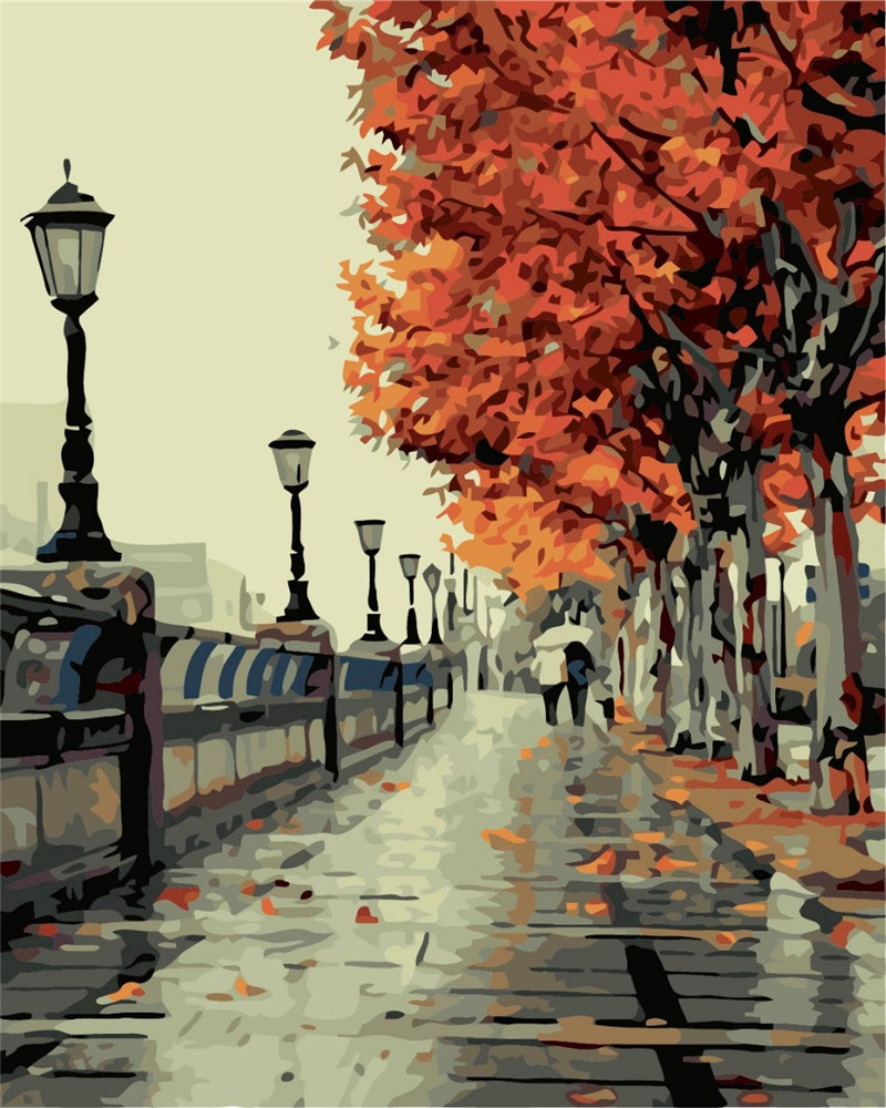 Digital Oil Painting DIY Oil Painting By Numbers Kits Autumn Frameless Canvas Home Wall Decor 40x50cm