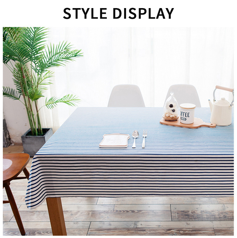 Cotton and Linen Simple Pastoral Tablecloth Geometric Tectangular Table Cover with Color Stripes Simple Geometric Tablecloth Color Stripe Cotton Pastoral Rectangle Table Cloth