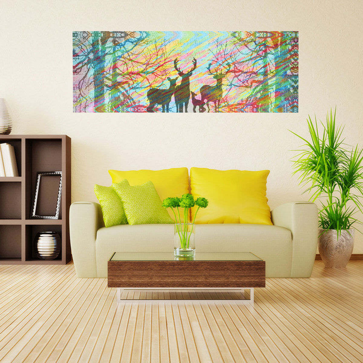 60x180CM Frameless Canvas Painting Windy Forest Modern Wall Art Home ...