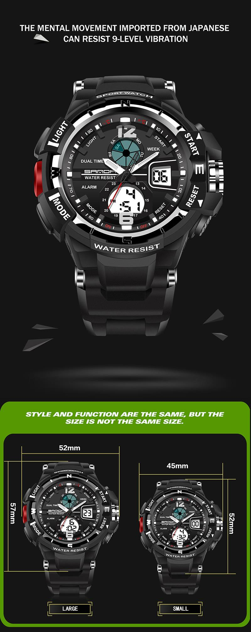 SANDA 289 Fashion Luminous Dual Display Watch Men Stopwatch 30M Waterproof Sport Digital Watch