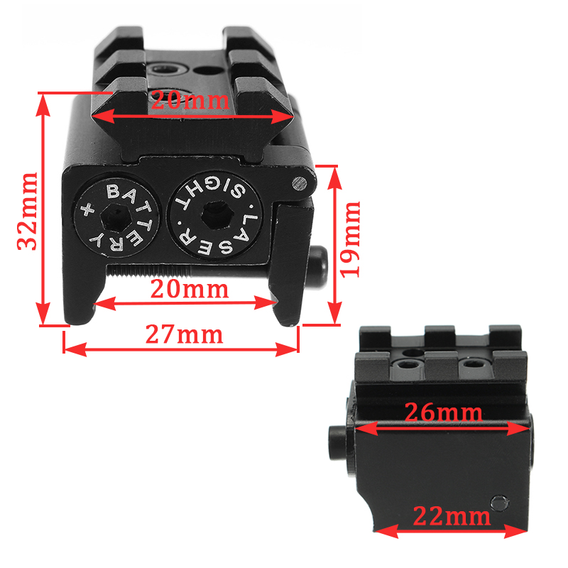 Mini Red Laser Beam Dot Sight Scope Hang Type Compact Tactical Picatinny 20mm Rail Mount