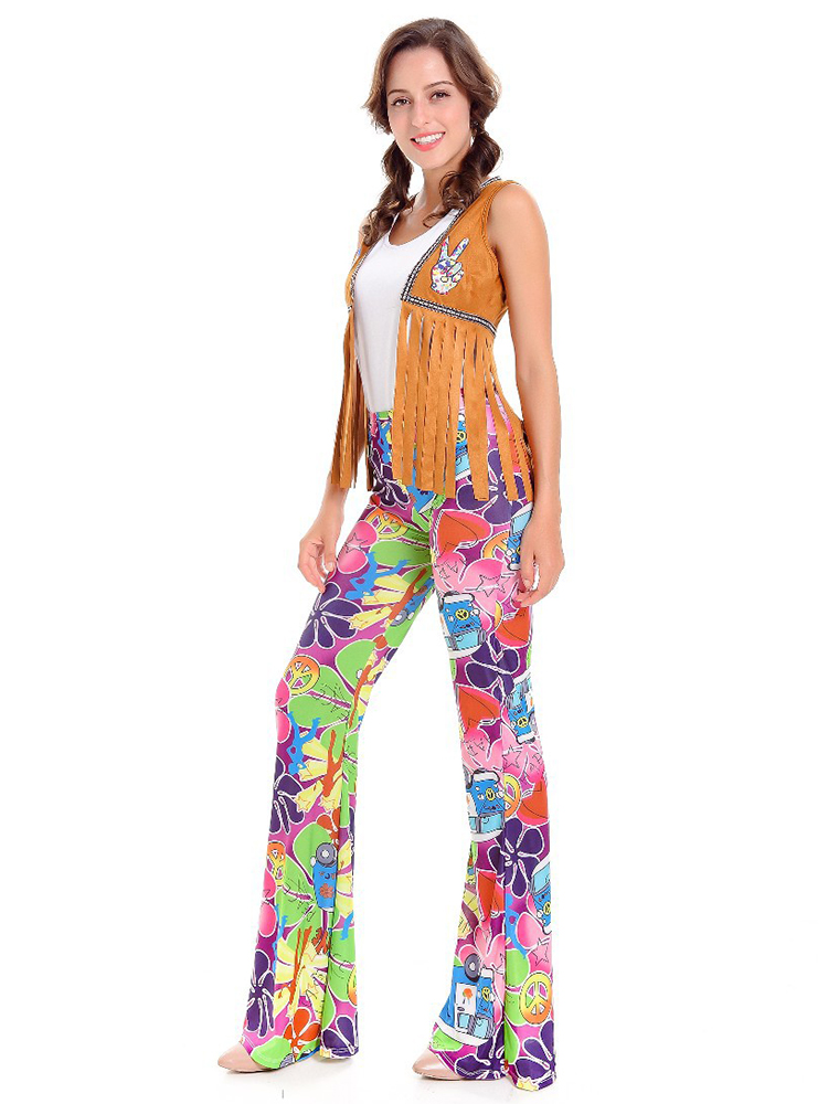 Vintage Women Disco Hippie Halloween Carnival Costume