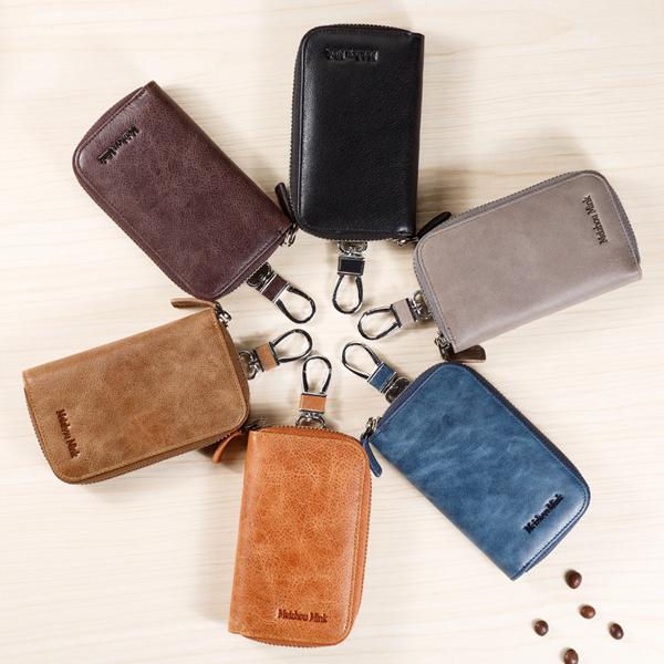 Genuine Cow Leather Bag Car Key Wallets Housekeeper Holders Zipper Key Case Pouch