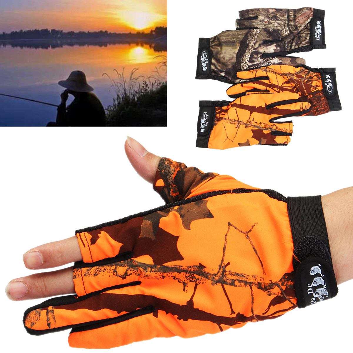 Men Camouflage Fishing Gloves Hunting Anti-Slip Shooting Camo Tactical Outdoor Breathable Mittens