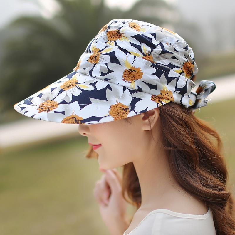 Women Ladies Summer Outdoor Anti-UV Beach Sunscreen Sun Hat Flower Print Wide Brim Caps