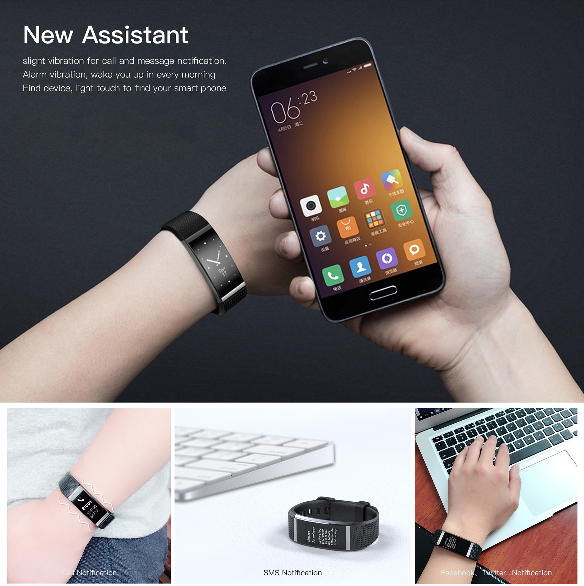 G18 0.96 inch Full Touch Heart Rate Sport Smart Wristband for Mobile Phone