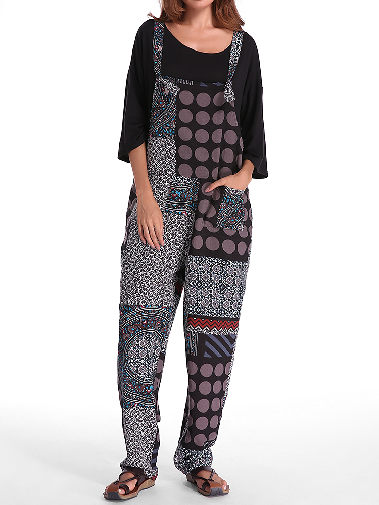 Gracila Polka Dot Printed Loose Pocket Jumpsuit