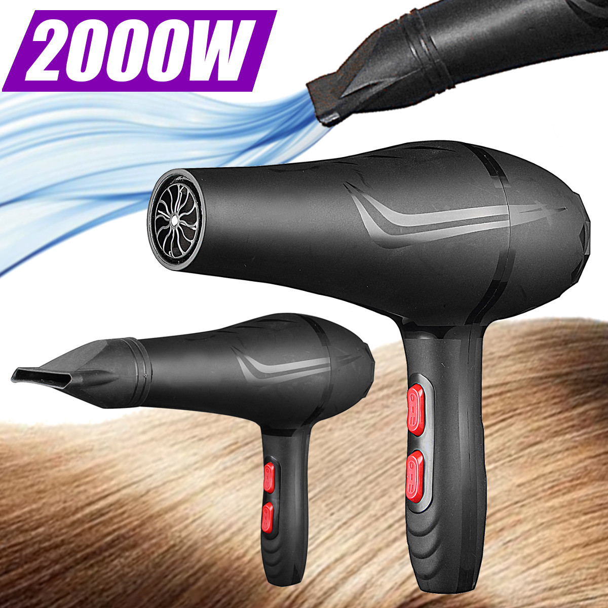 220V 2000W High-Power Pet Dog Cat Grooming Hair Dryer Mute with Flat Mouth Nozzles