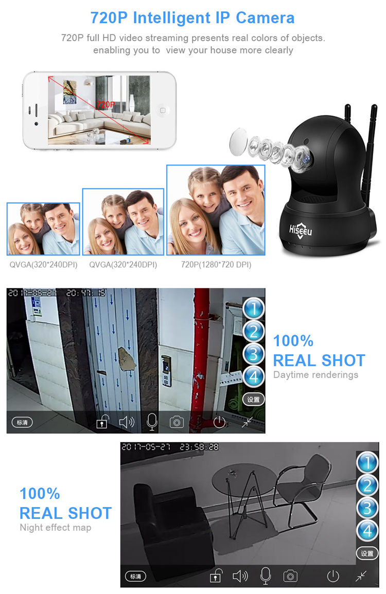 Hiseeu FH5 720P H.264 IP Camera Wireless Network Camera WiFi HD TF Card Record Security CCTV Camera