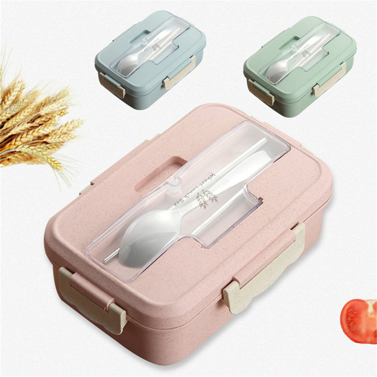 Lunch Box Spoon Chopsticks Case Compartment Food Container Storage Microwave