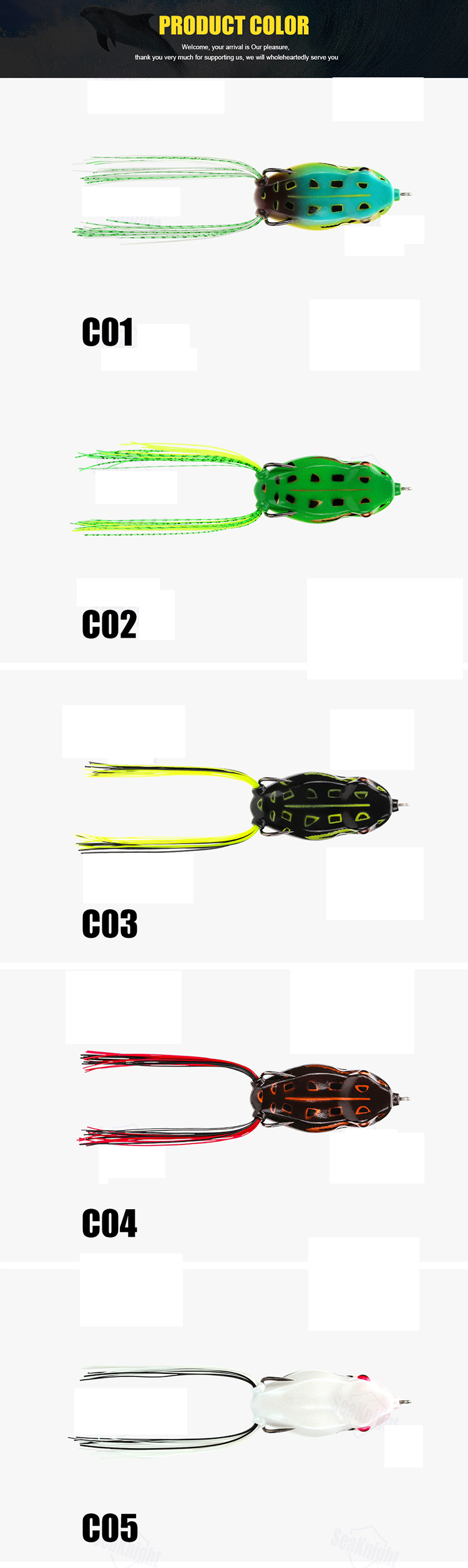 SeaKnight SK403 5PCS 6.5g 45mm Topwater Soft Fishing Lure Lifelike Floating Frog Bait