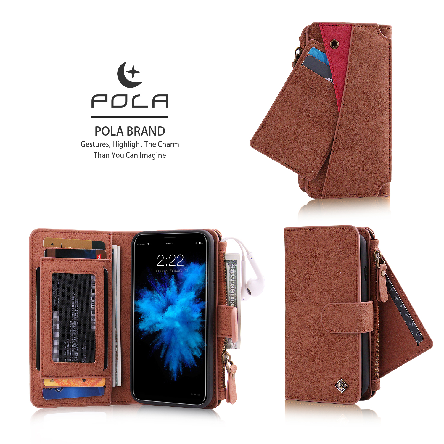 POLA Magnetic Detachable Wallet Card Slot Case For iPhone X/8/8 Plus/7/7 Plus/6s/6s Plus/6/6 Plus