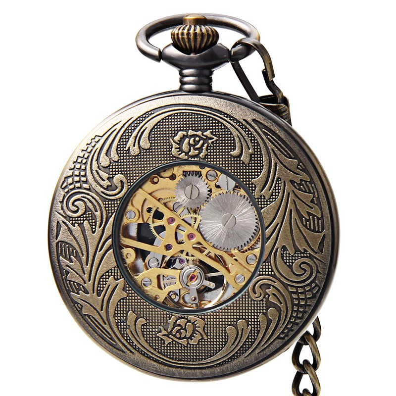 JIJIA JX021 Self-wind Mechanical Chinese Dragon Phoenix Pattern Retro Pocket Watch
