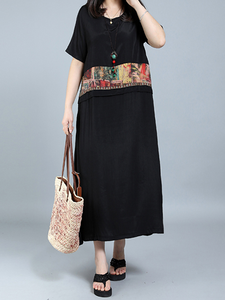 Women Fake Two Pieces Patchwork Printed Dress