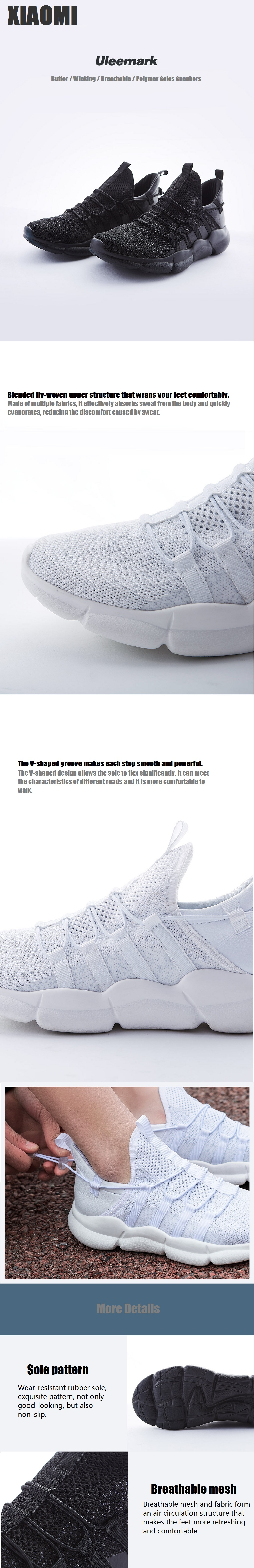 XIAOMI Uleemark Sneakers Anti-skid Buffer Breathable Sport Running Shoes Comfortable Soft Casual Shoes