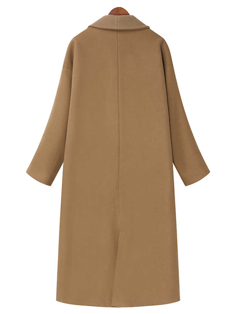 Elegant Women Lapel Long Sleeve Solid Color Button Long Coat