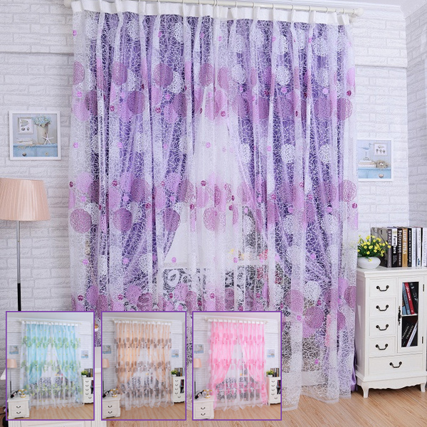 100x200cm Bird Nest Print Tulle Window Curtain Balcony