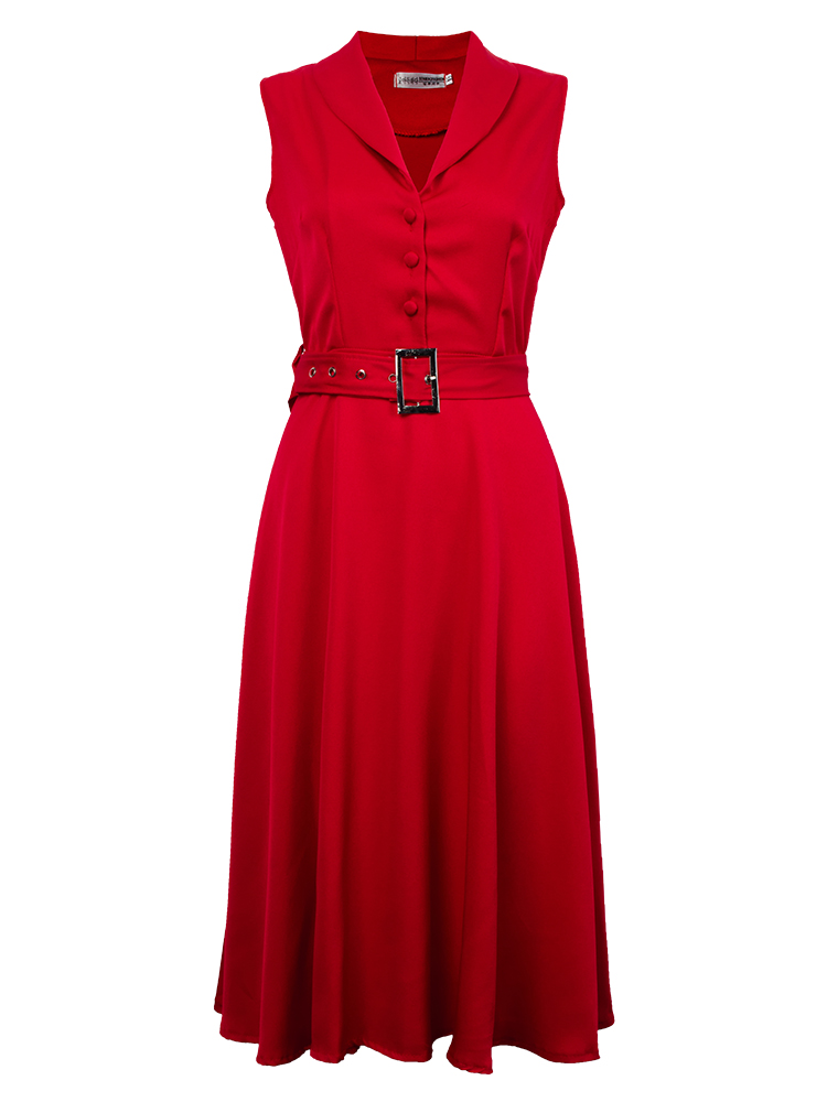 Women's Swing Party Dress Lapel Dresses With Belt