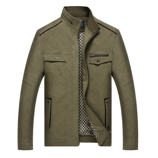 Men Stylish Stand Collar Casual Cotton Spring Autumn Jacket Zipper Coat