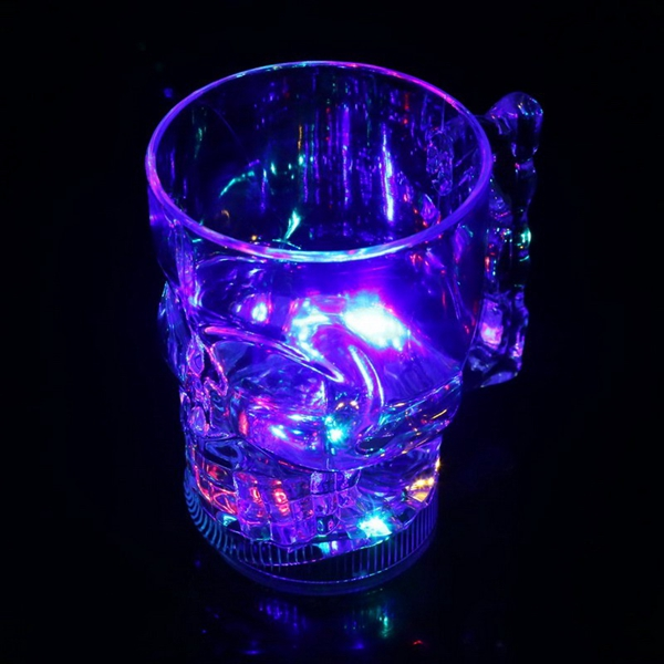 Creative LED Glowing Colorful Skull Head Wine Beer Mug Cup For Bar KTV