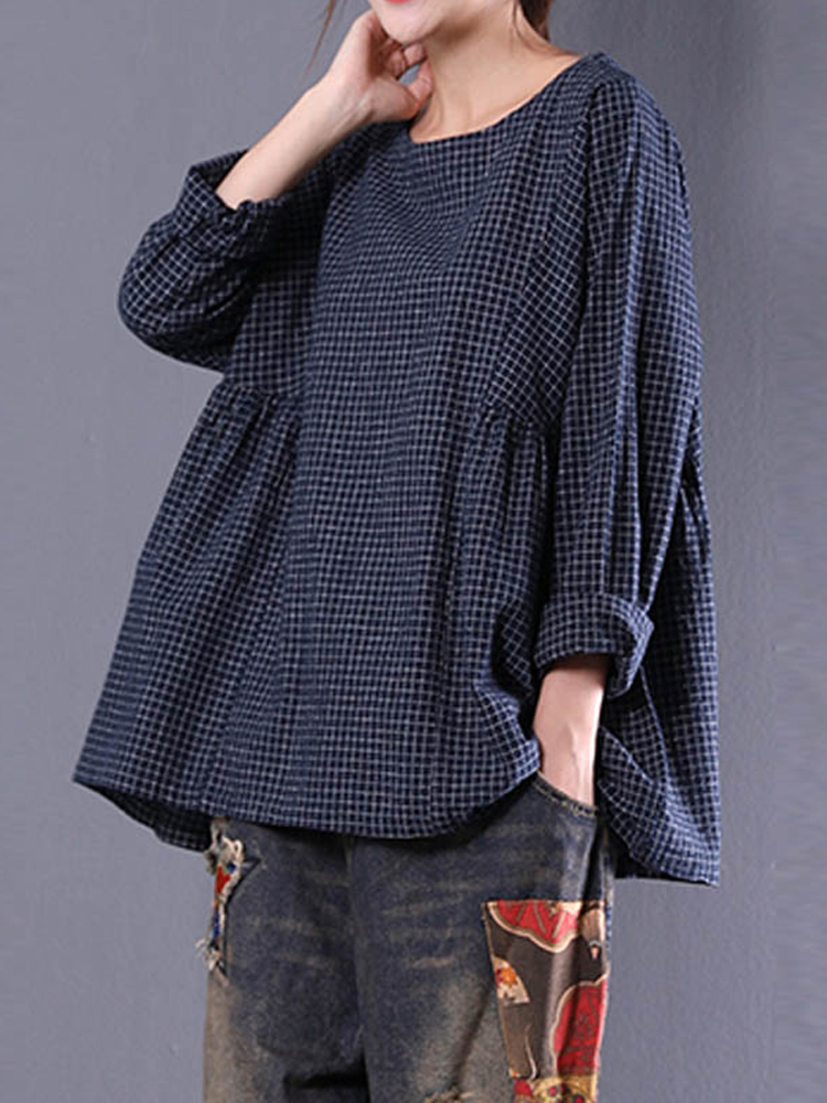 Vintage Women Crewneck Plaid Blouse