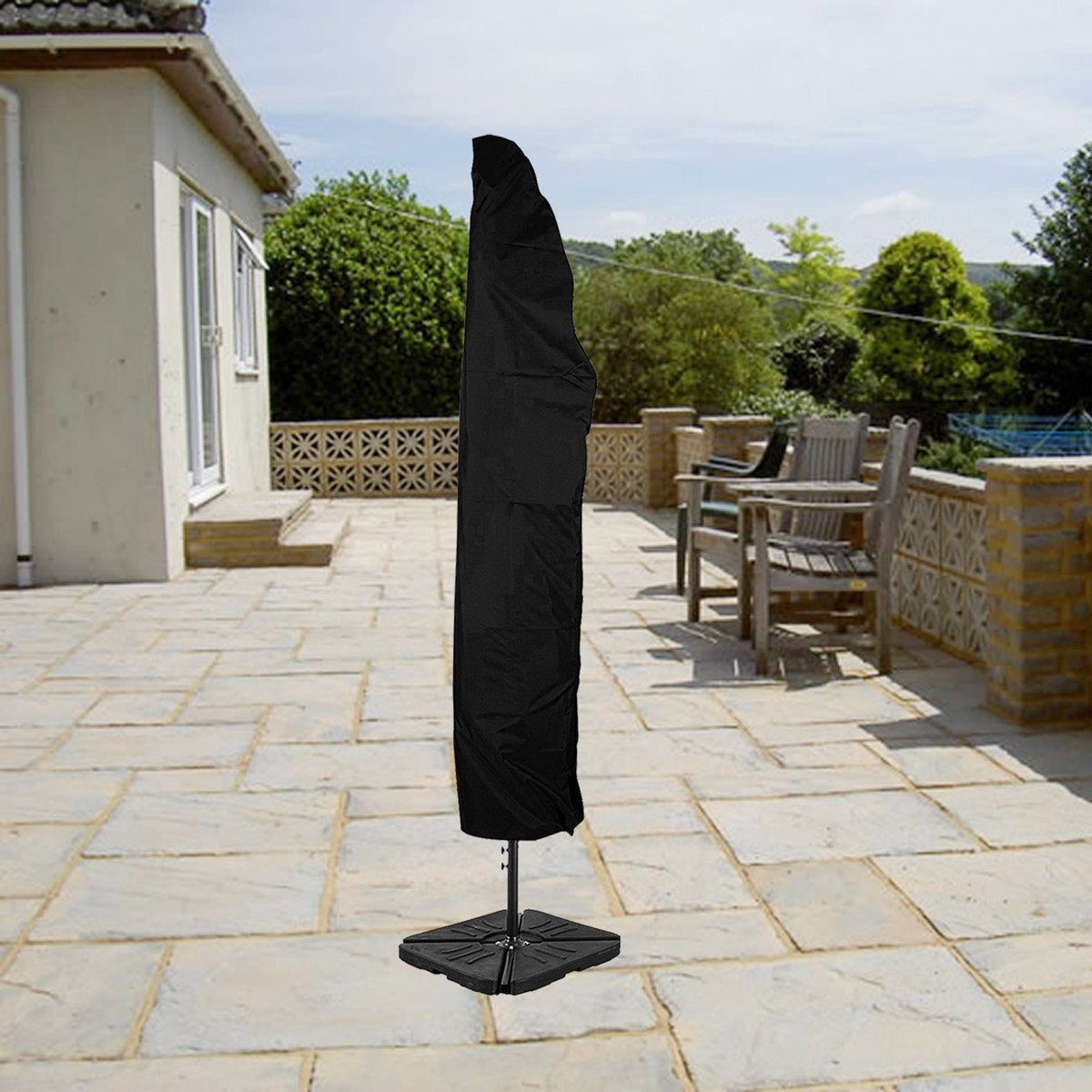 Waterproof Umbrella Parasol Dust Cover Zipper Protection For Outdoor Yard Garden Camping Hiking
