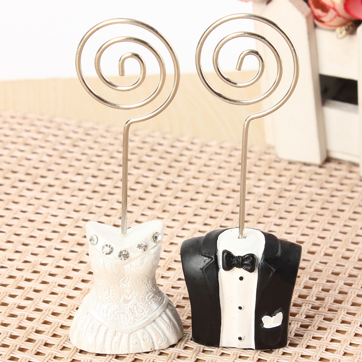 1 Pair Bride Groom Couple Wedding Place Card Name Holder Table Number Decoration