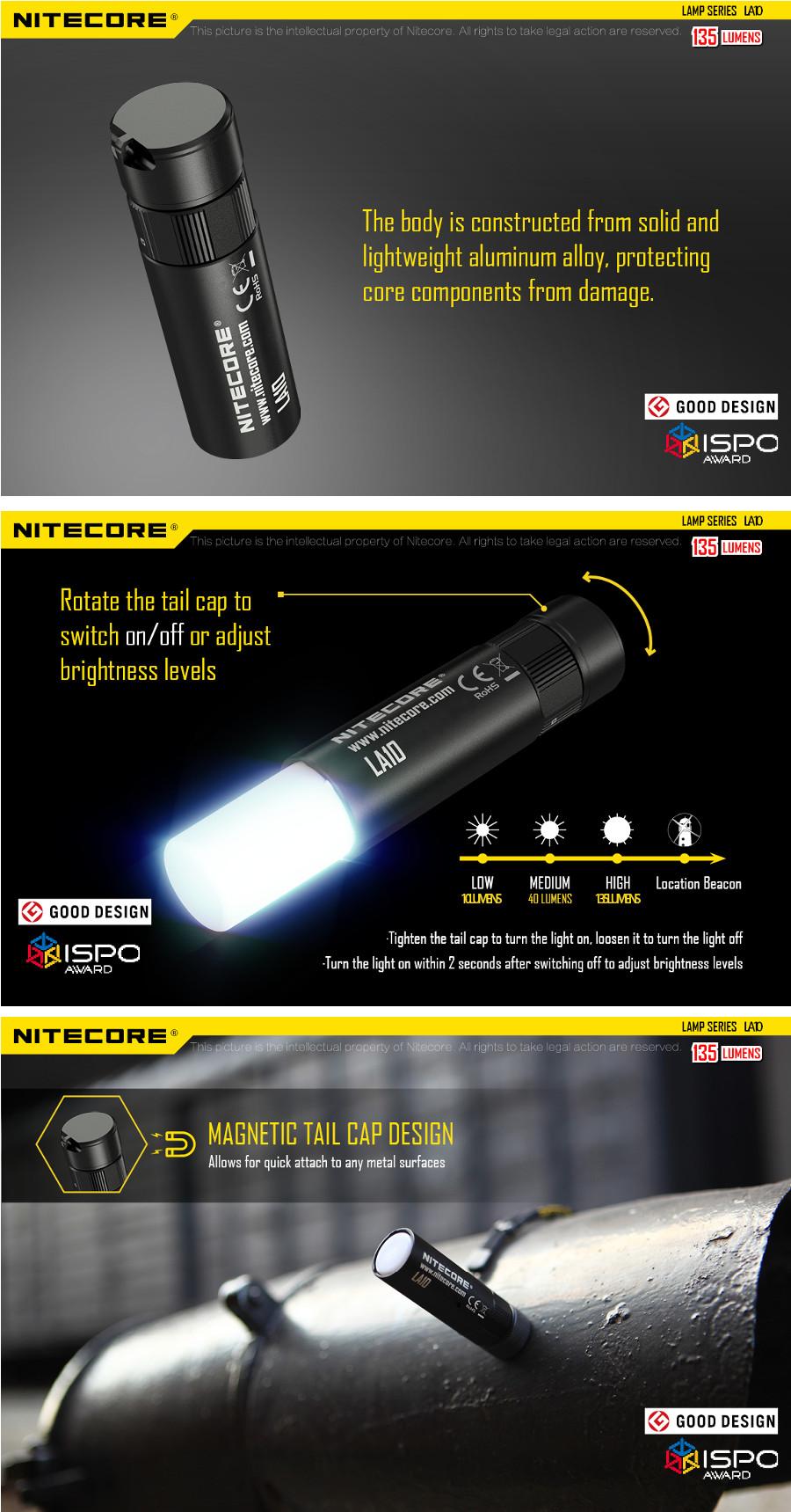 Nitecore LA10 XP-G2 S3 4Modes Magnetic Tail Maintenance Light Flexible Camping EDC LED Flashlight Work Light
