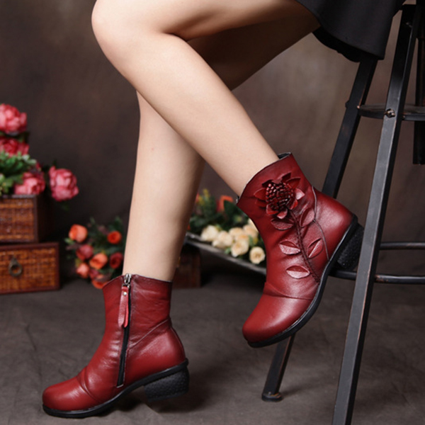 SOCOFY Vintage Ankle Flower Pattern Stitching Zipper Leather Boots