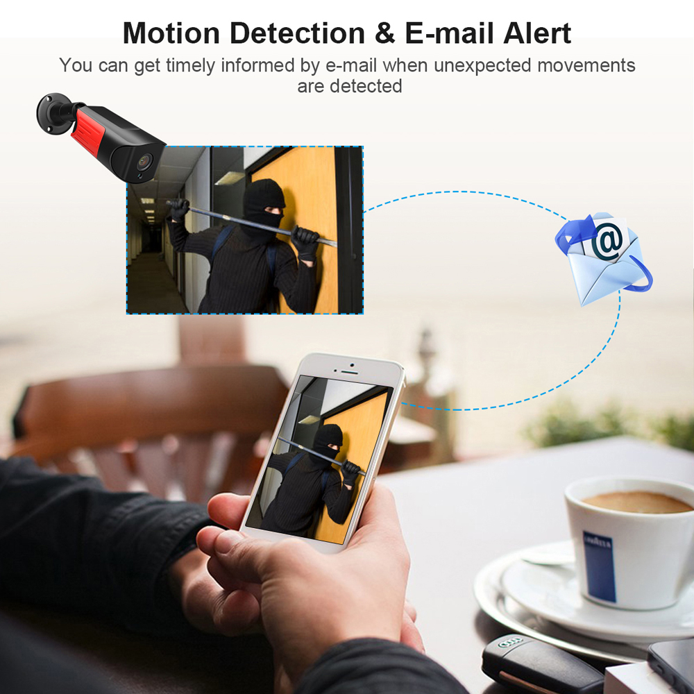 2.0MP Wifi IP Camera Home Security Surveillance Camera Baby Monitor IP66 Waterproof 4Pcs LED Night Vision Support ONVIF Protocol
