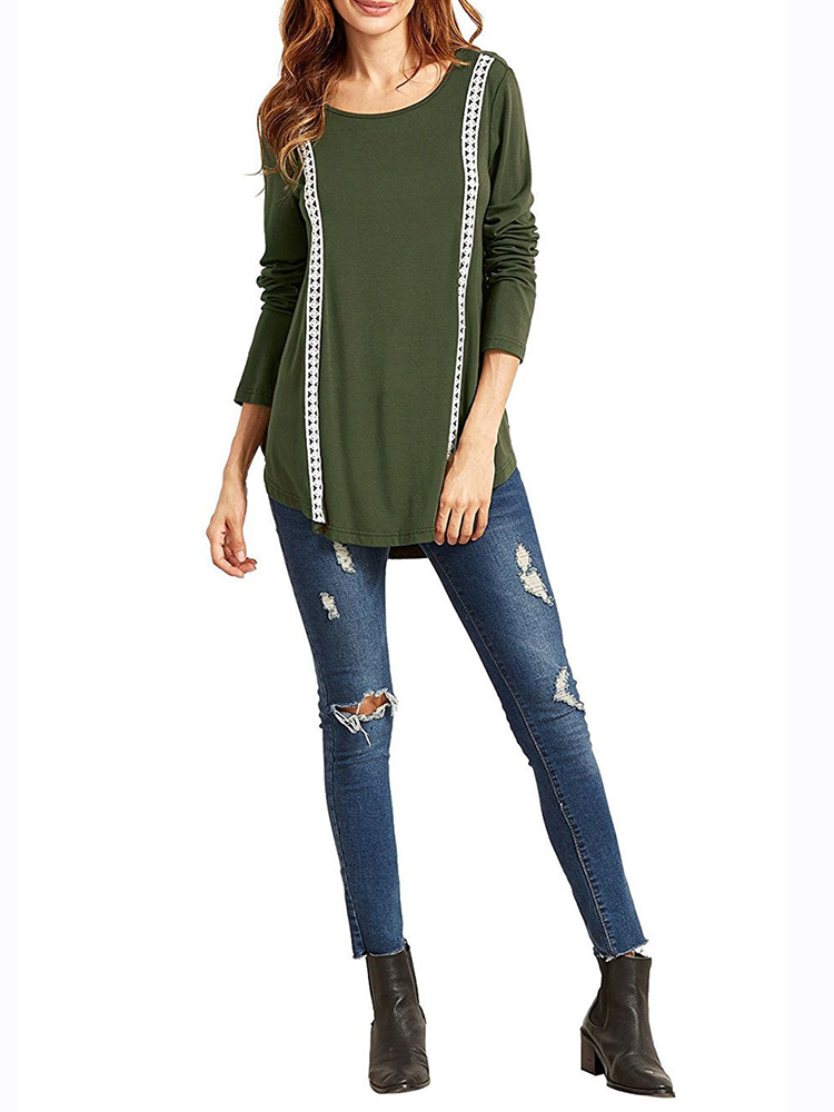 Army Green Casual Women Long Sleeve Lace Patchwork Pullover T-shirts