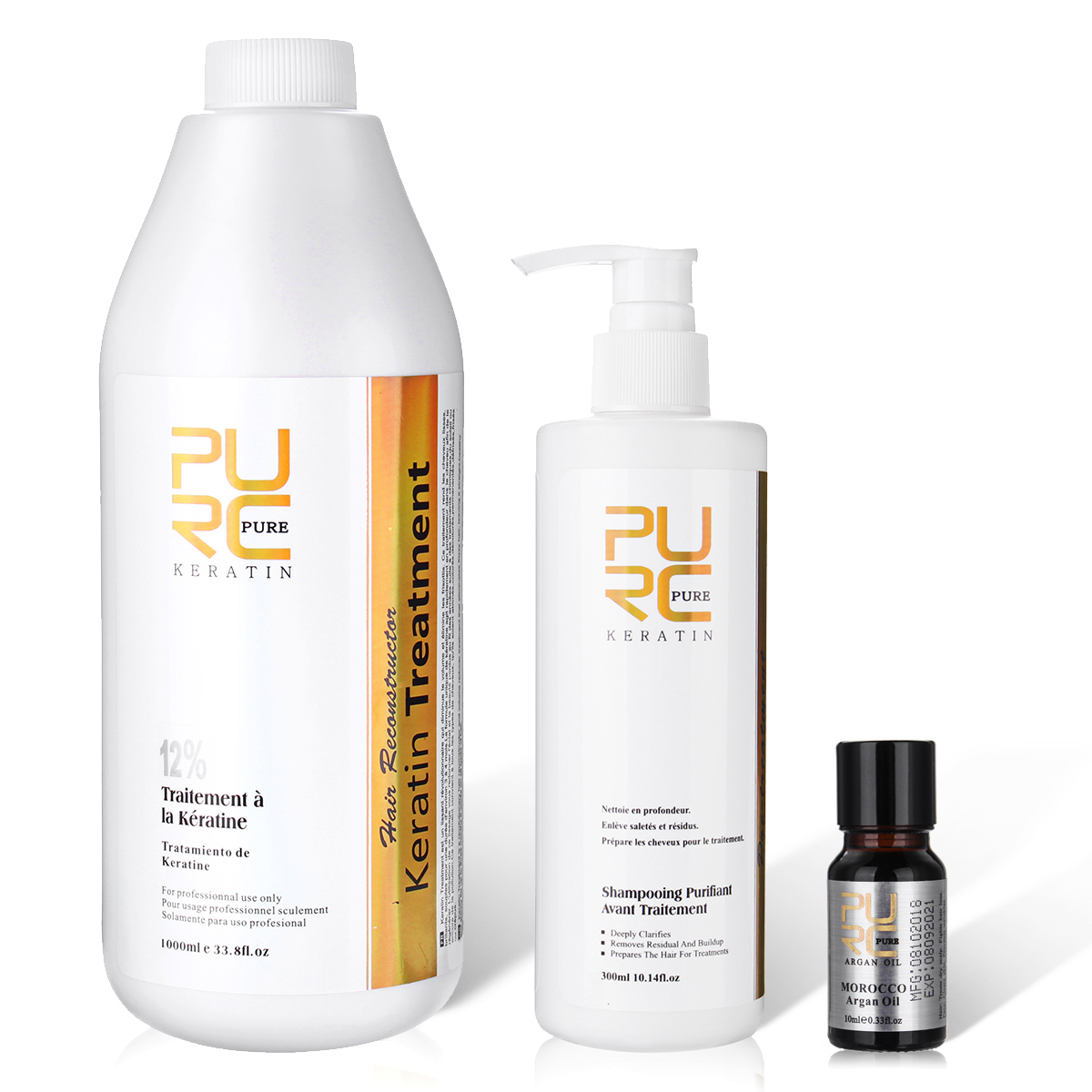 PURE Brazilian Keratin Treatment 5% 1000ml Hair Repair+Purifying Shampoo 300ml