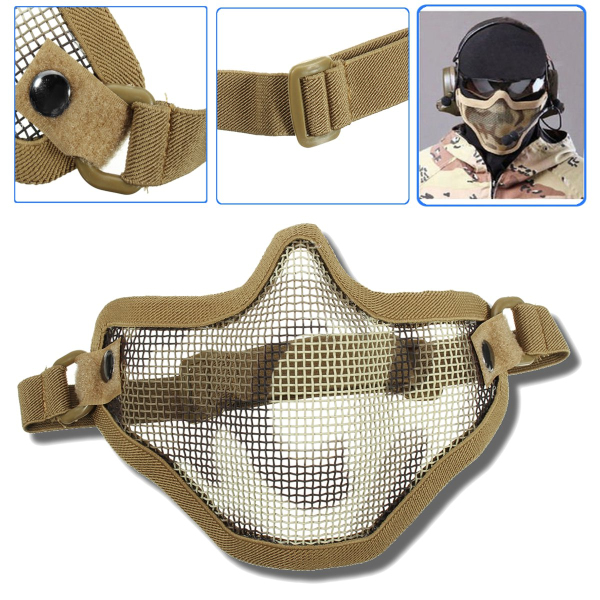 Airsoft Mask Half Face Metal Mesh Tactical Protective Cover CS Mototcycle Gear