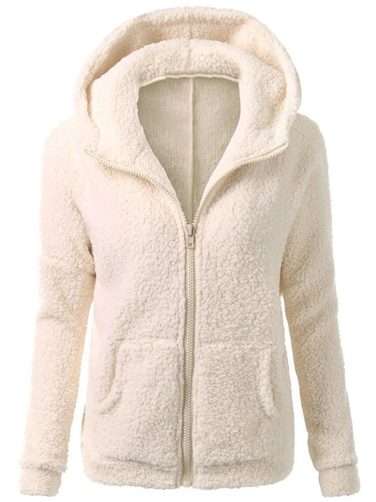 Women Casual Fleece Warm Winter Hooded Coat